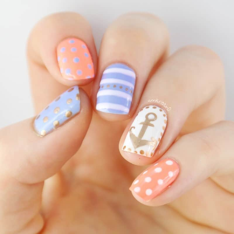 pastel nautical nail arts
