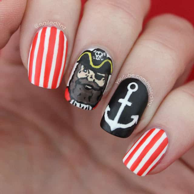 Sea Pirate nautical nail designs
