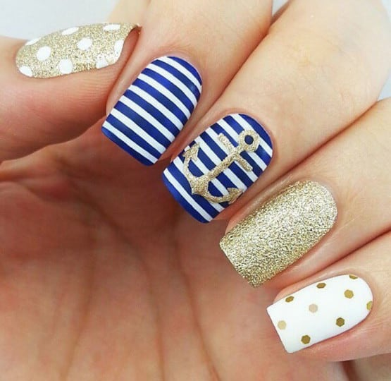 polka dots nautical nail designs