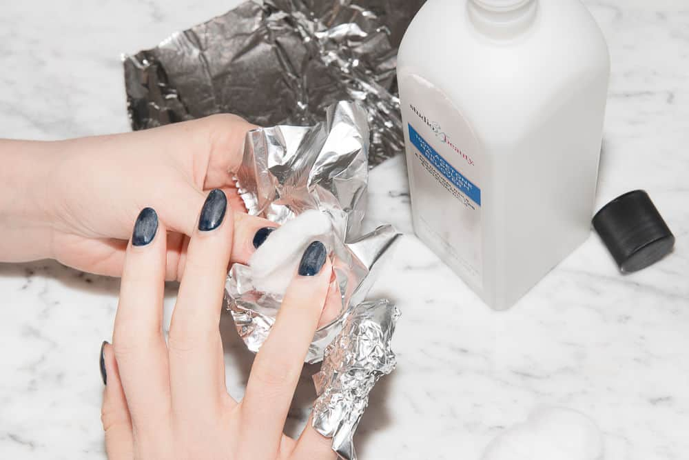 Acetone- to remove powder nail polish