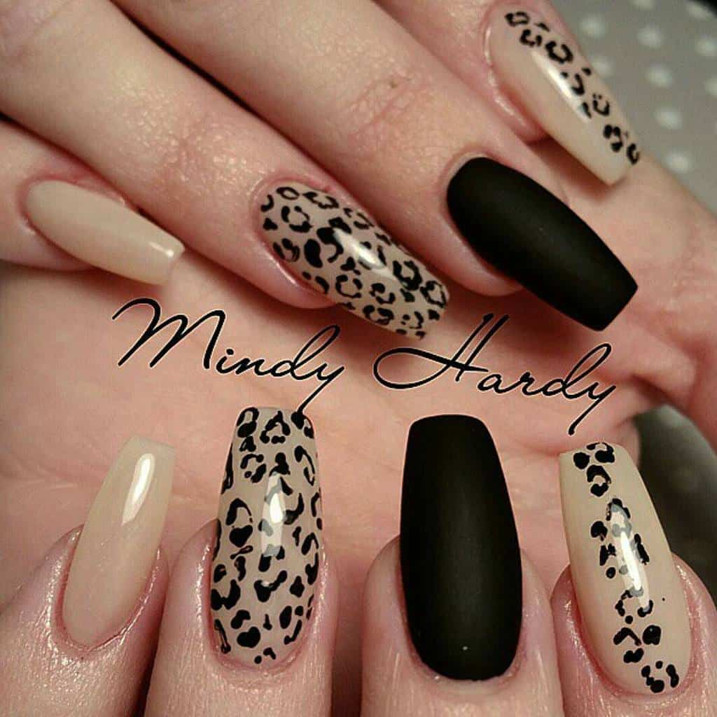 Animal Printed Matte coffin Nails