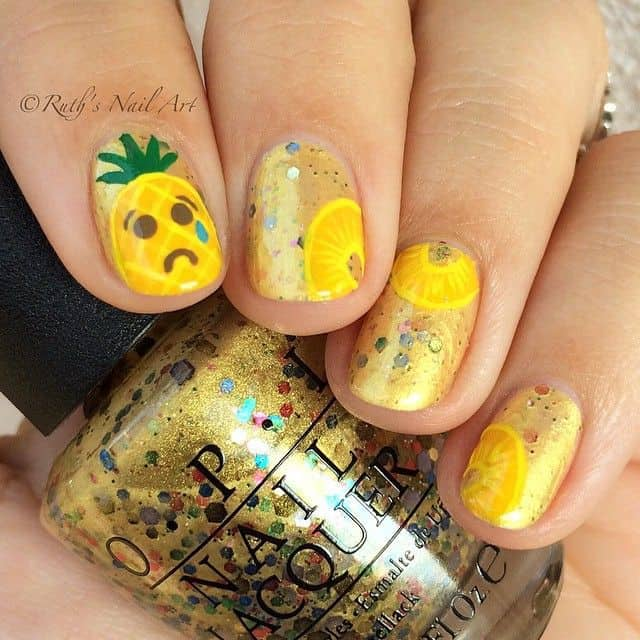 Golden Glam fruit nail designs