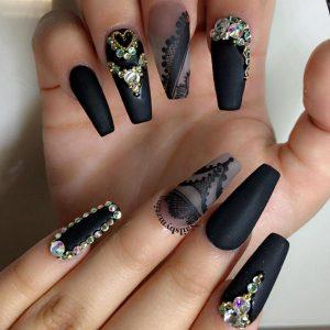 black coffin matte nails