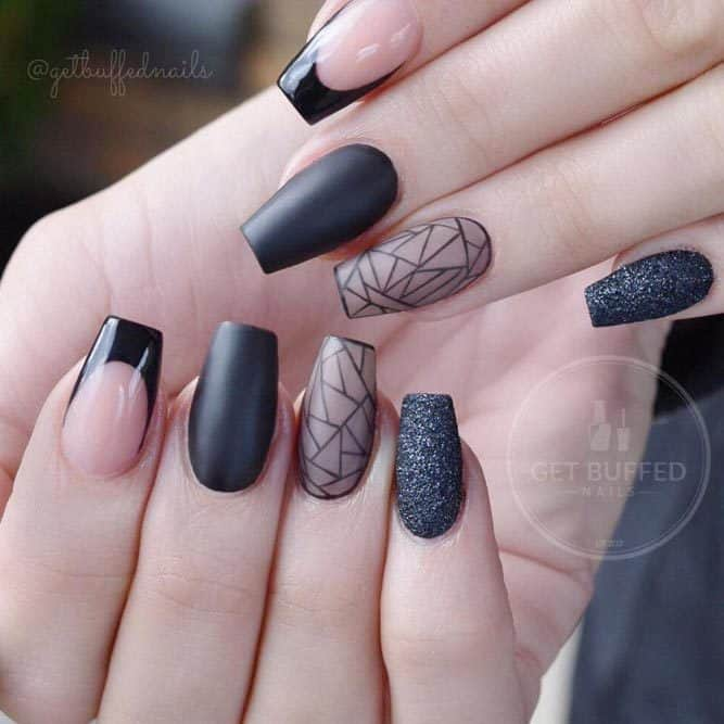 black coffin nails with manicure