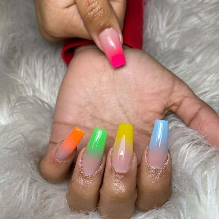 colored tips ombre nails