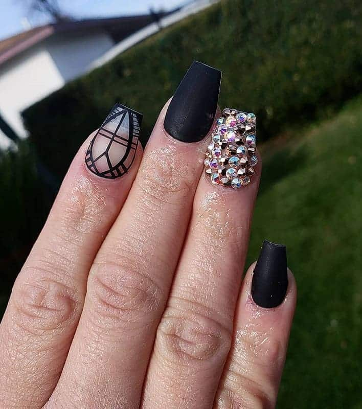 matte black coffin nails with diamonds