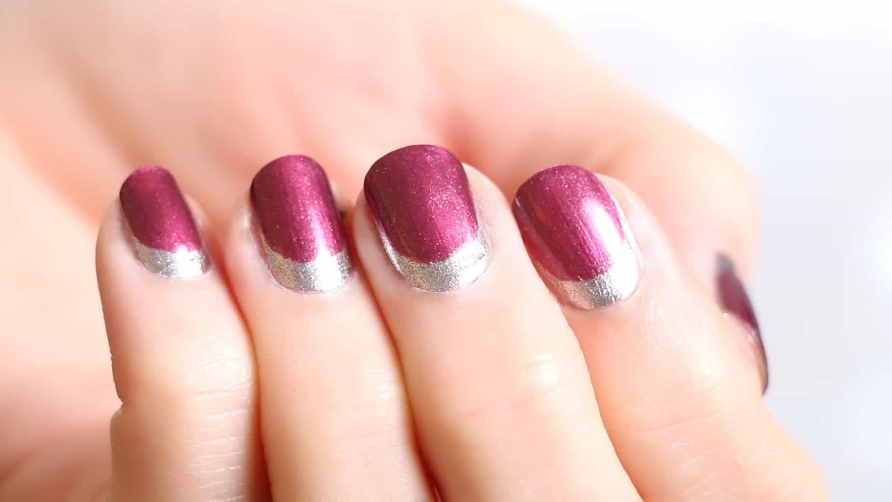 burgundy french reverse manicure