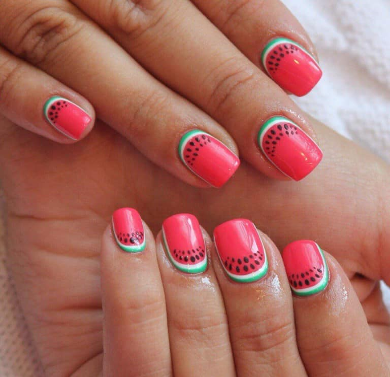 watermelon reverse french manicure