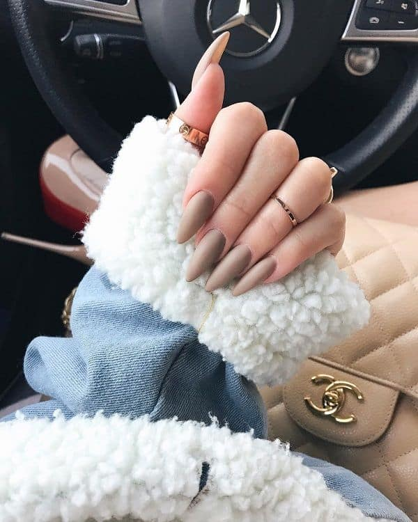 nude matte stiletto nails