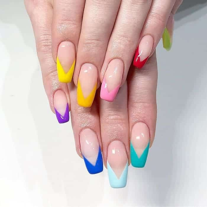 rainbow colored nail tips