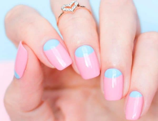 Pastel color Reverse French Manicure