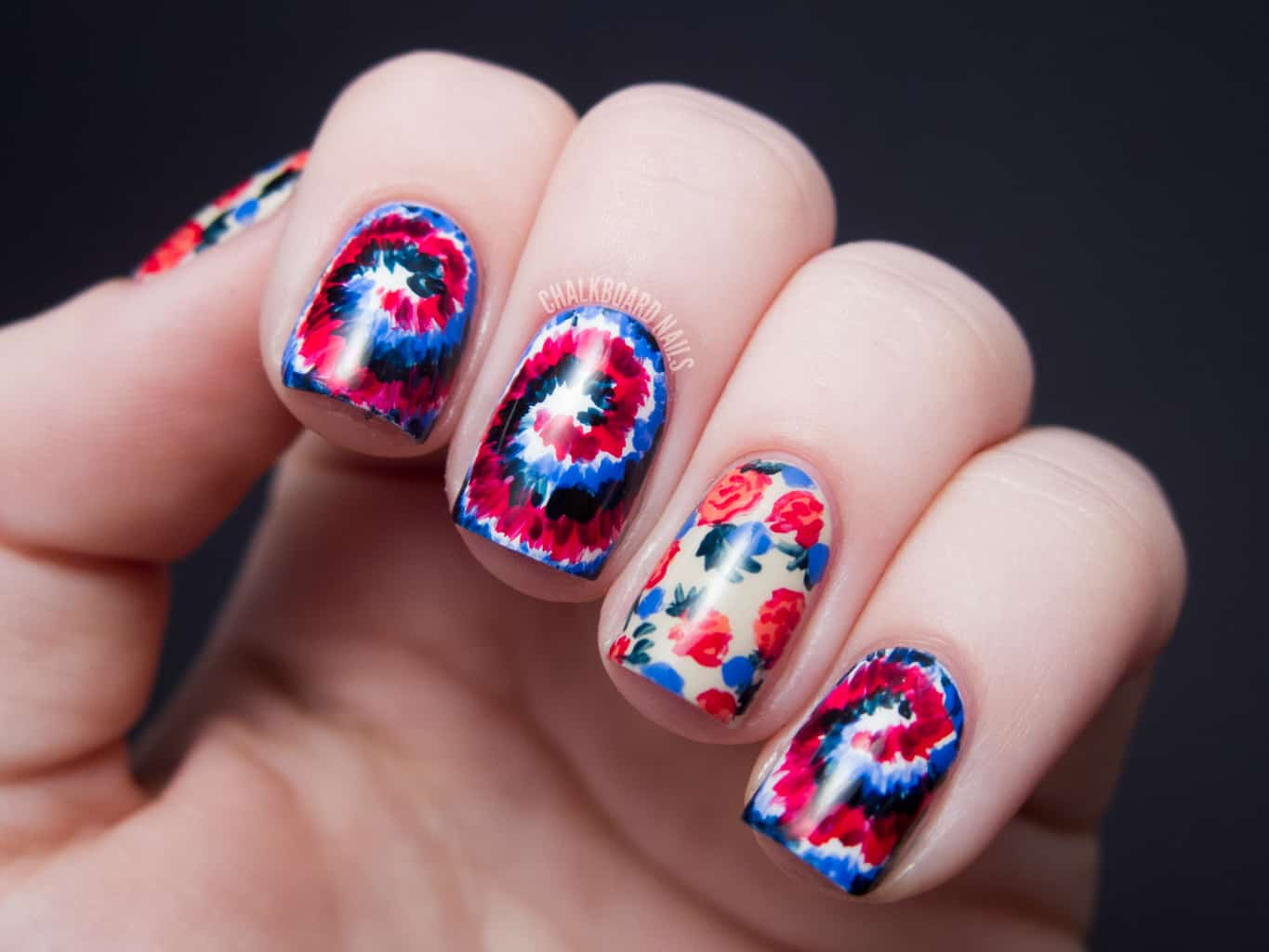 Swirl with Floral Pattern - tie dye nails