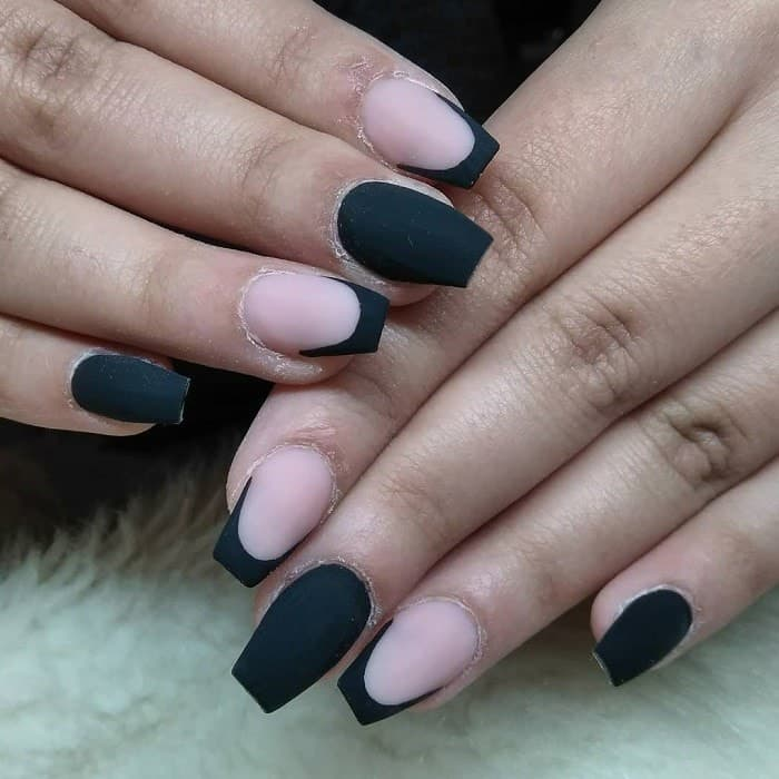 matte black short coffin nails