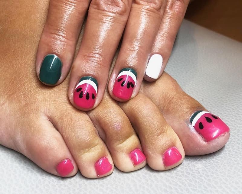 fruit toe nail design