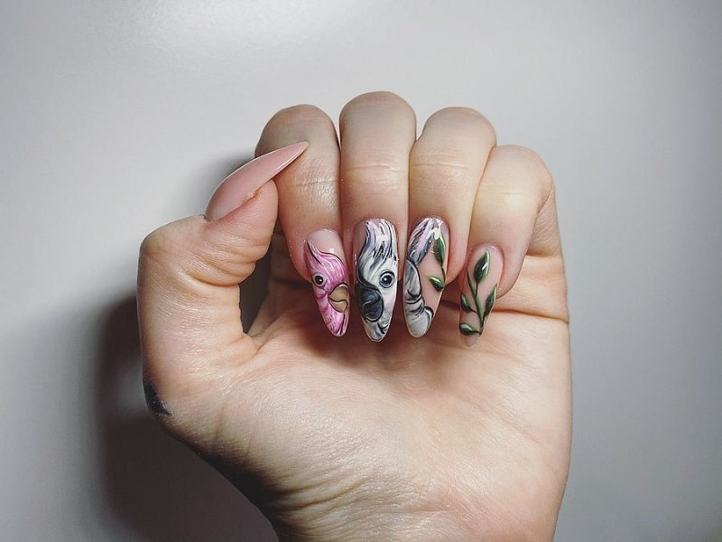 animal gel nail designs