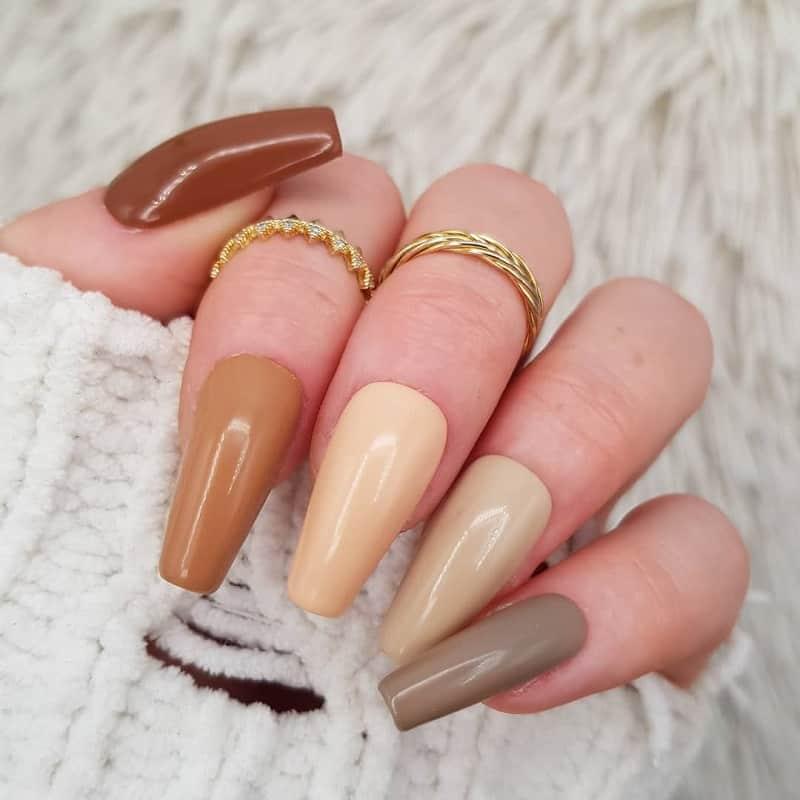 beige coffin nails