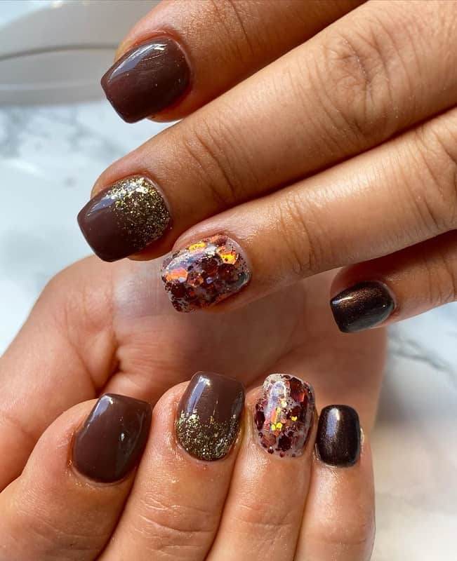 brown fall nail design