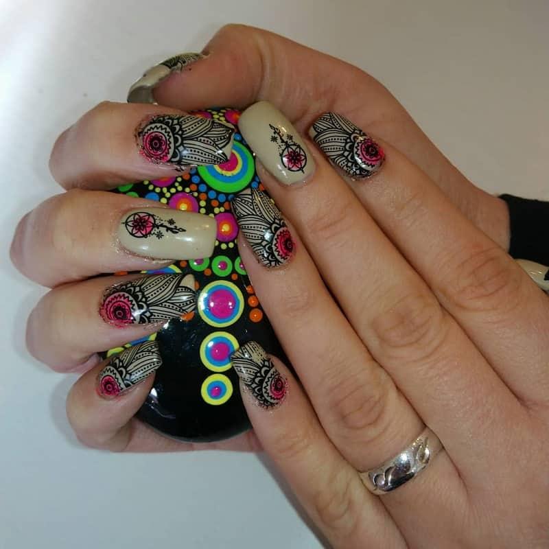 hippie acrylic nail design