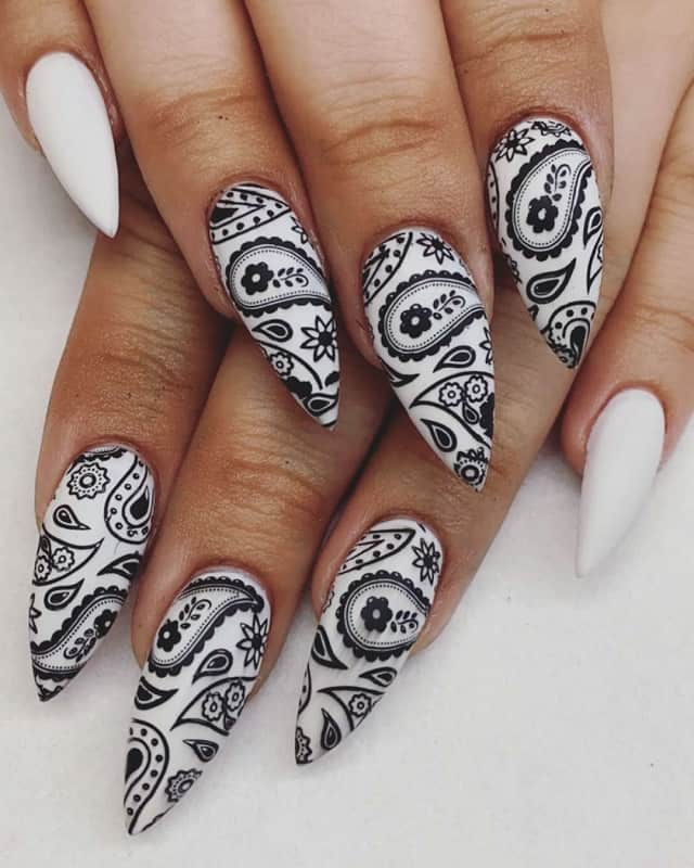 matte black and white stiletto nails