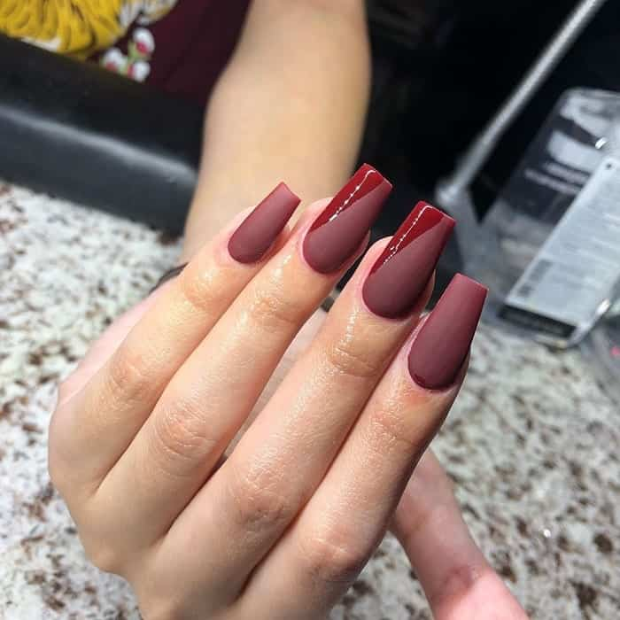 matte maroon coffin nails