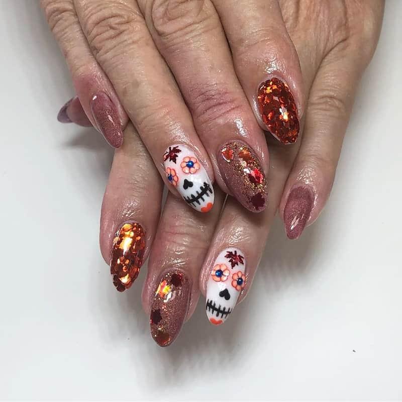 sugar skull nail designs