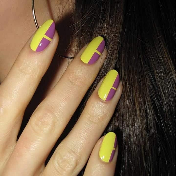 two toned yellow nails