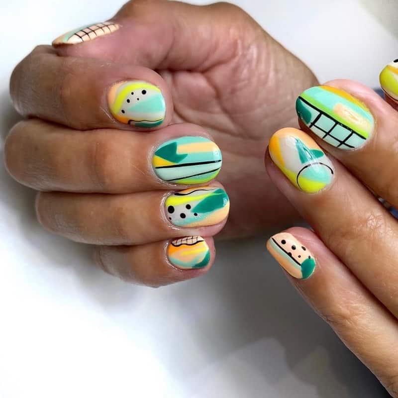 abstract gel nail art