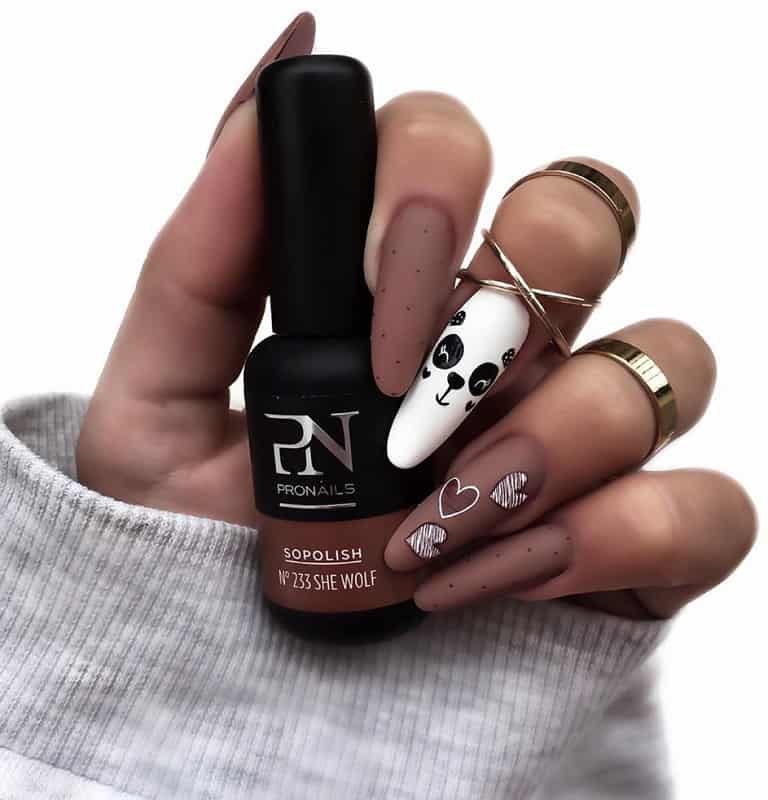 brown acrylic nail design