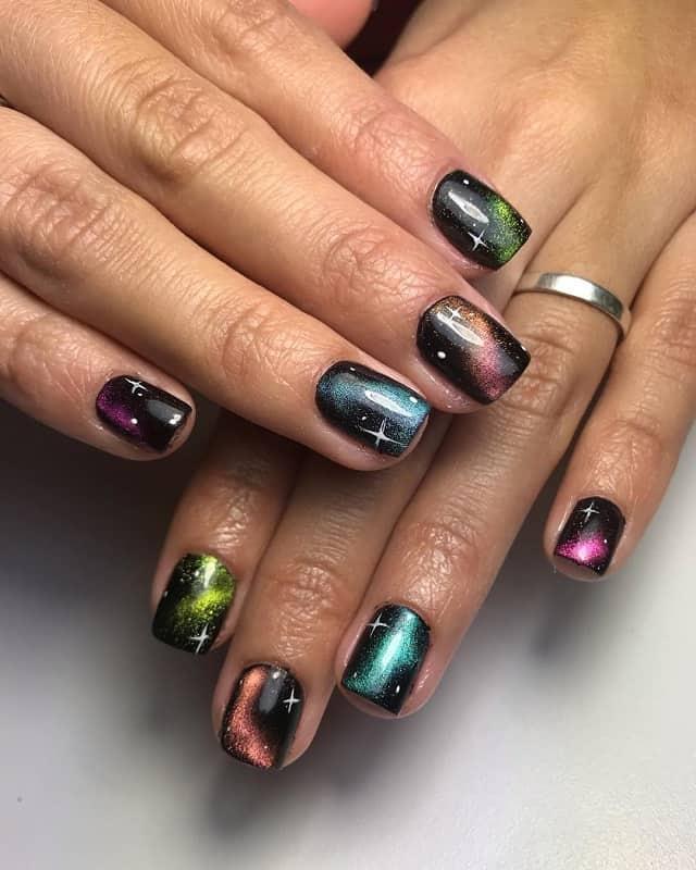 galaxy glitter nail