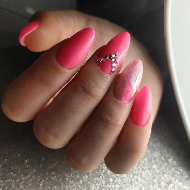 hot pink nail designs with rhinestones