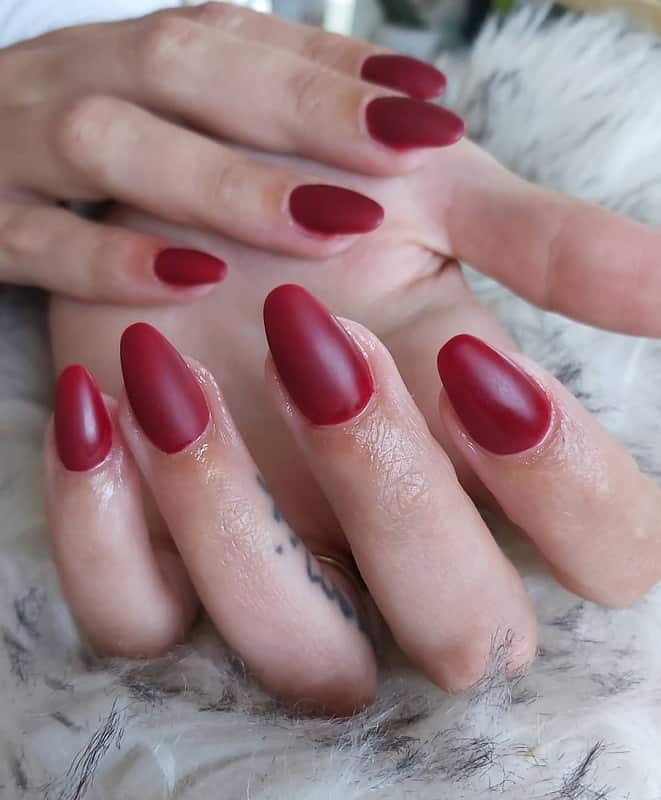 matte maroon red nails
