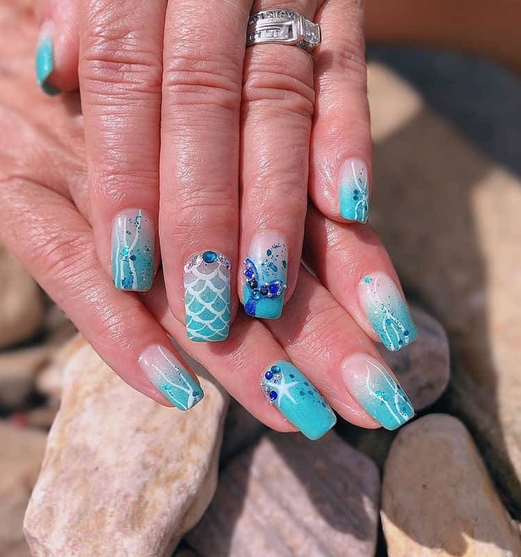mermaid blue nails