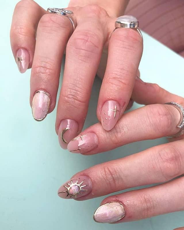 negative space korean nail art