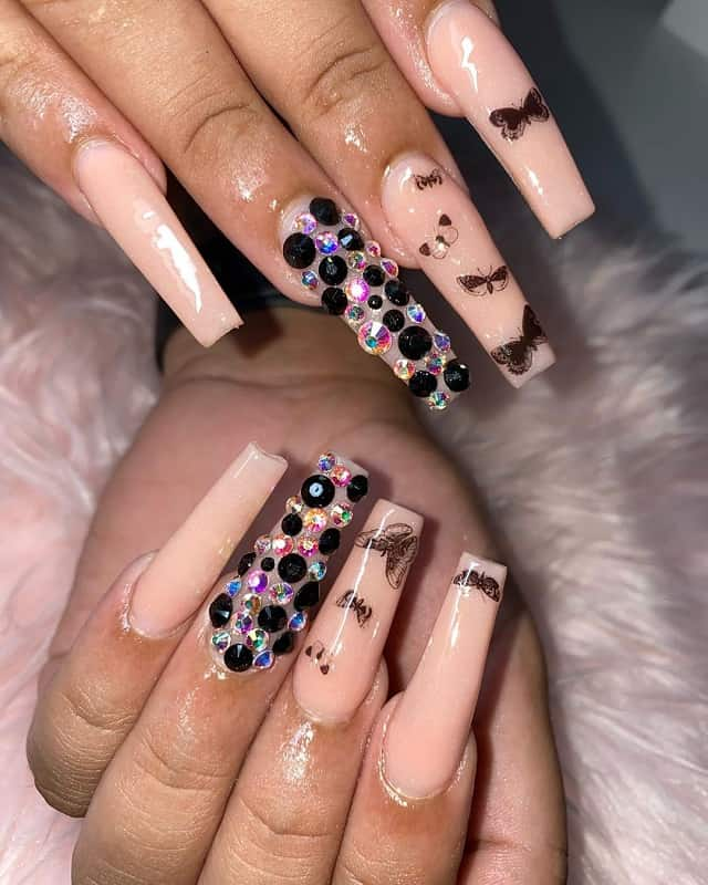 nude nails with bling