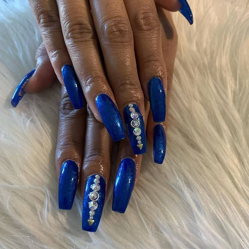 royal blue nails designs with diamonds
