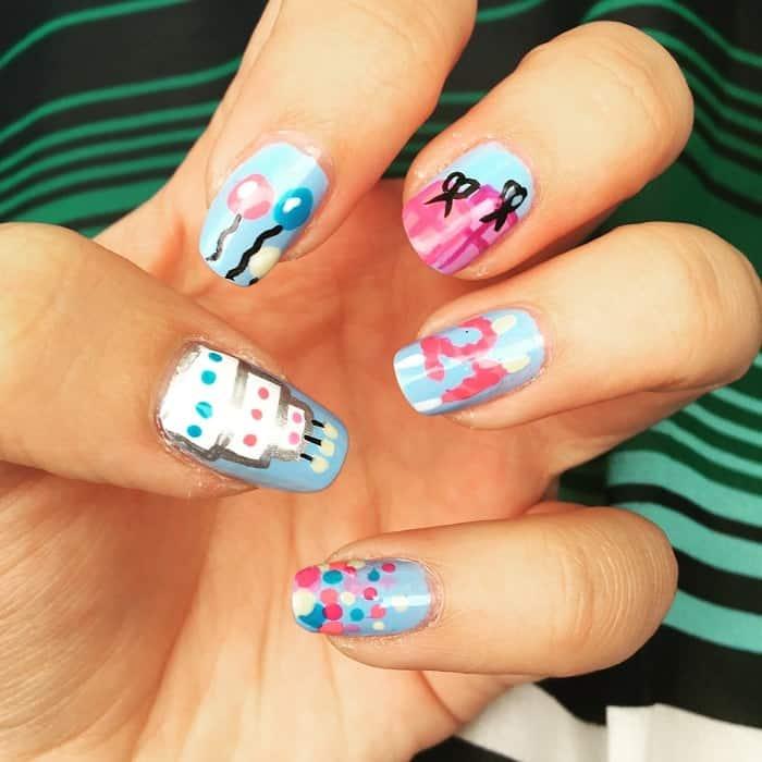 21st birthday nails