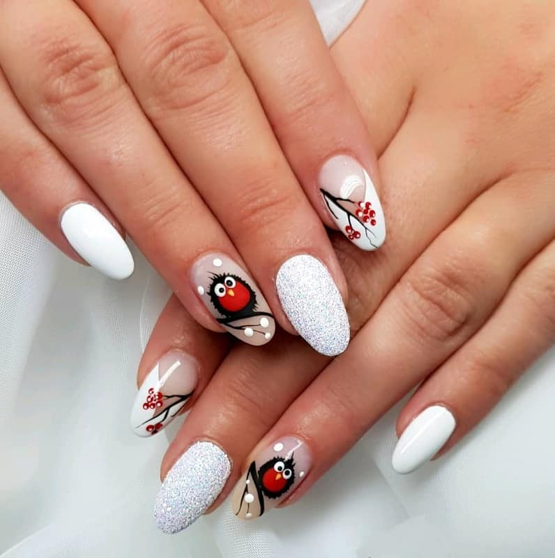 christmas owl nail design