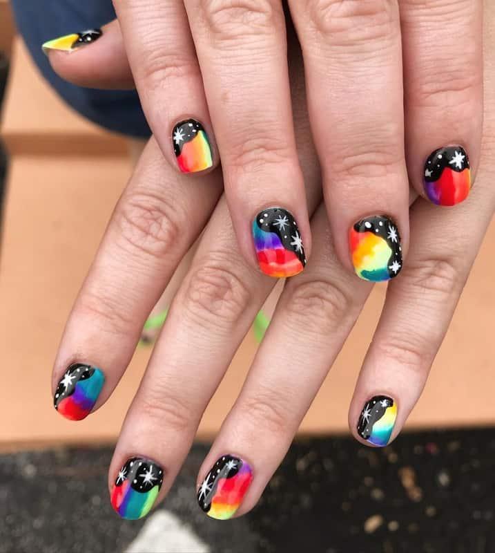 galaxy short nails
