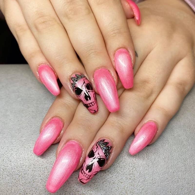 gel skull nail designs