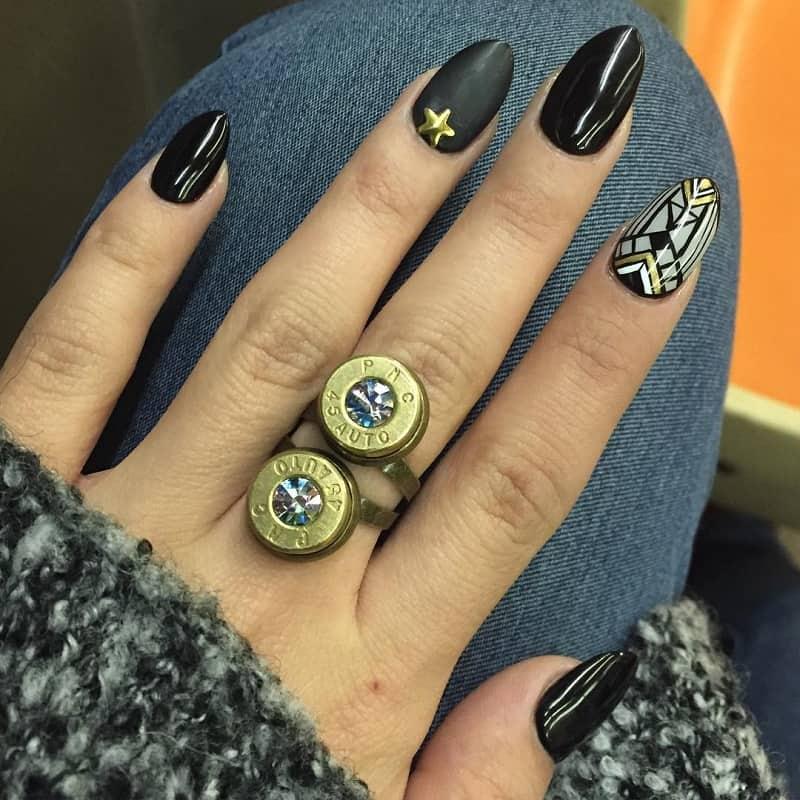 goth geometric nail art