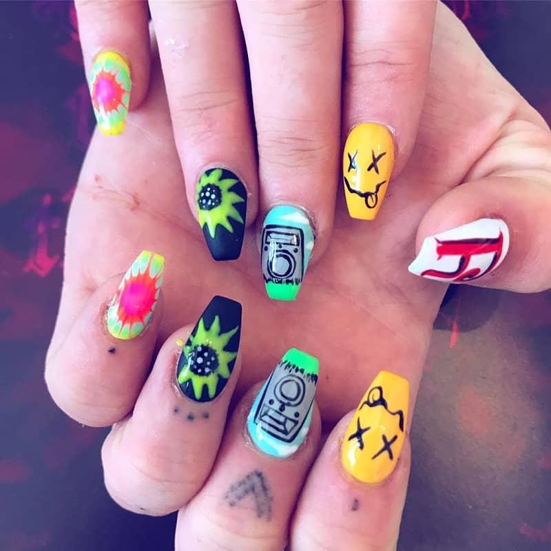 grunge hippie nail design