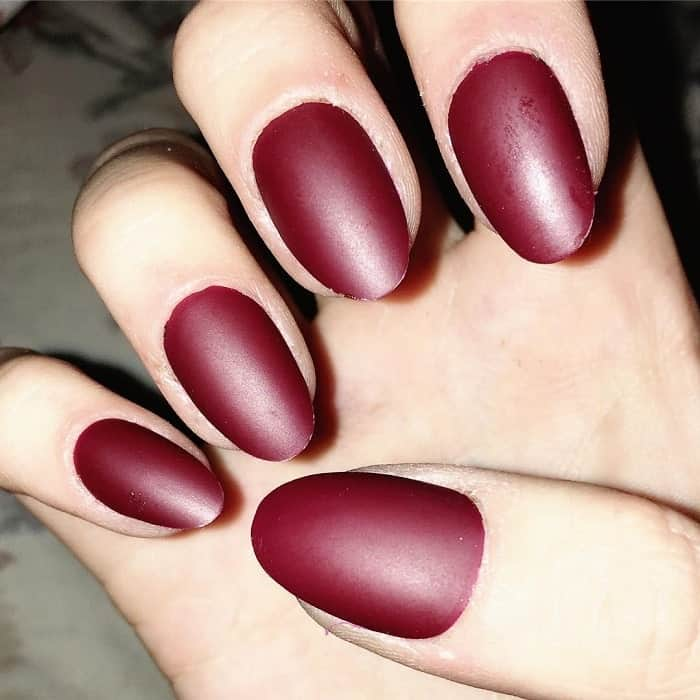 classic matte maroon almond nails