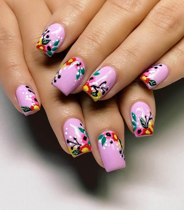 spring pink nails