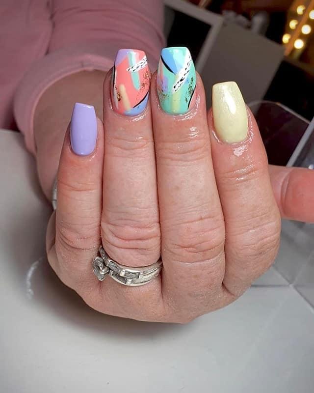 abstract spring nail art