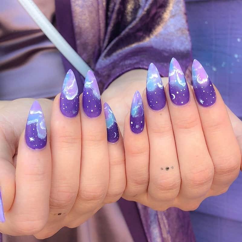 galaxy ombre nails