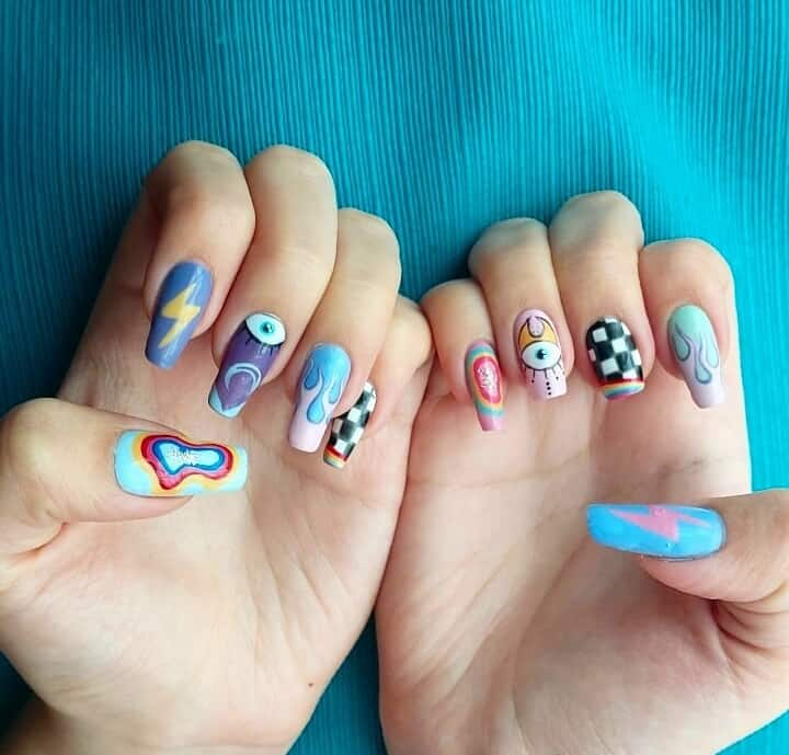 hippie nail stickers