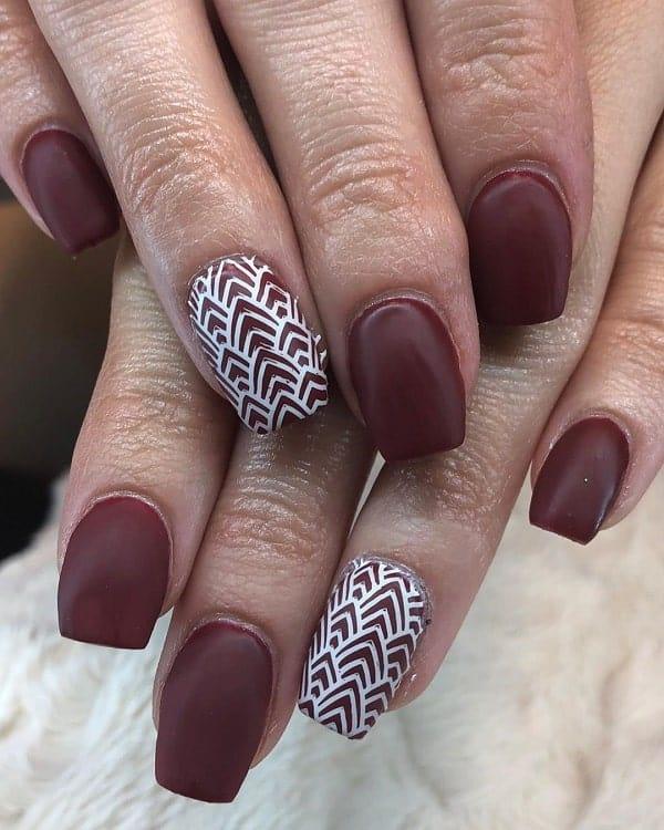 matte maroon acrylic nails