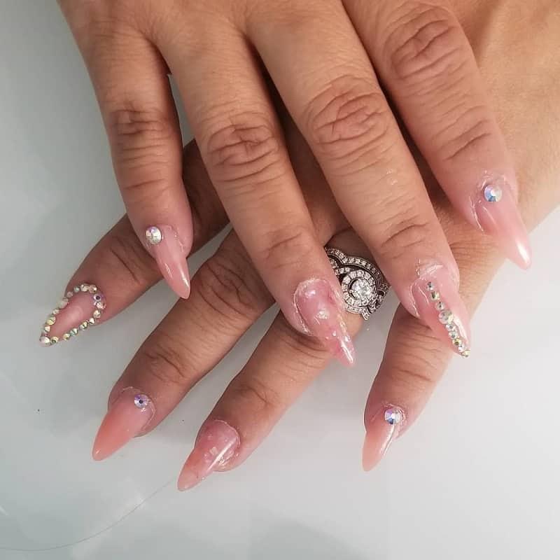 natural nail designs with rhinestones