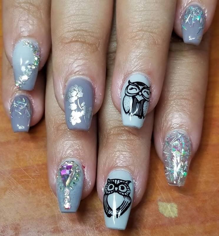 owl gel nail