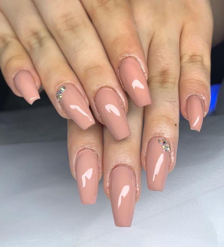 beige fake nails
